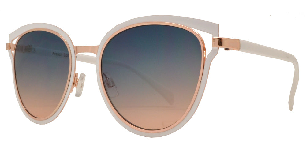 Dynasol Eyewear - Wholesale Sunglasses - FC 6383 - Double Metal Rim Cat Eye Women Metal Sunglasses - sunglasses