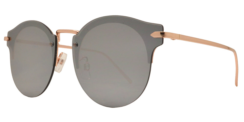 Dynasol Eyewear - Wholesale Sunglasses - FC 6385 - Rimless Retro Round Horn Rimmed Metal Sunglasses - sunglasses