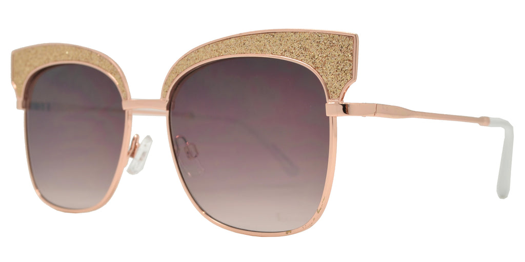 Wholesale - FC 6408 - Women's Slim Square with Glitter Accent Sunglasses - Dynasol Eyewear