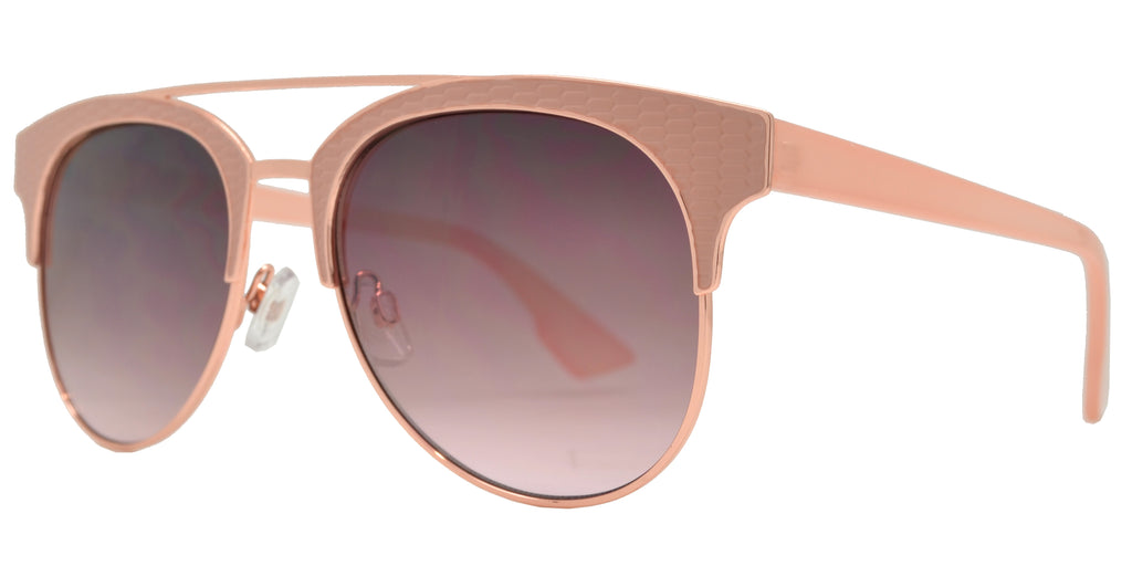Dynasol Eyewear - Wholesale Sunglasses - FC 6409 - Women's Modern Metal Aviator Sunglasses with Brow Bar - sunglasses