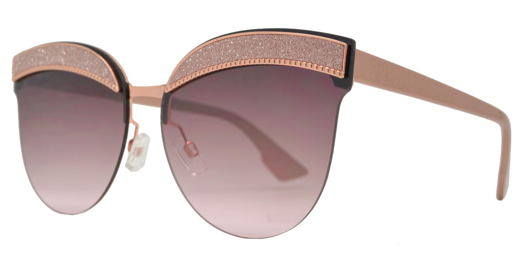 Dynasol Eyewear - Wholesale Sunglasses - FC 6416 - Women's Horn Rimmed Flat Lens Rimless Cat Eye with Glitter Sunglasses - sunglasses