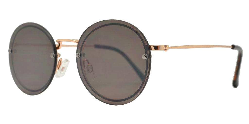 Wholesale - FC 6418 - Small Round Rimless Metal Sunglasses - Dynasol Eyewear