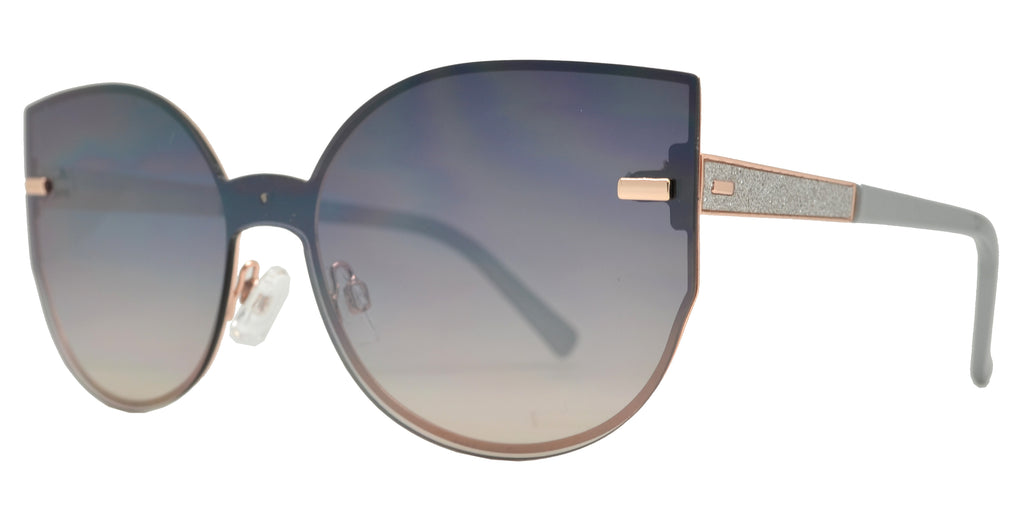 Dynasol Eyewear - Wholesale Sunglasses - FC 6420 - Women's Rimless Cat Eye Flat Lens Metal Sunglasses - sunglasses