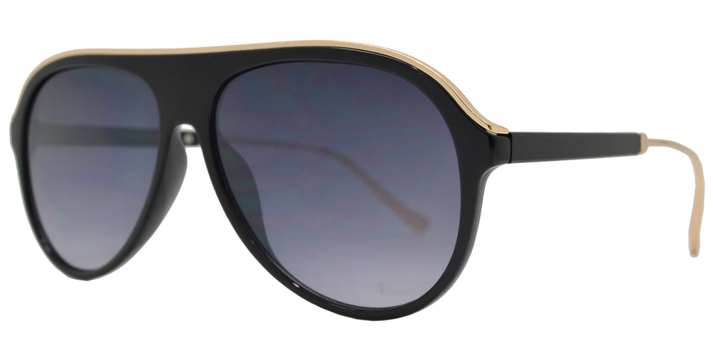 FC 6422 - Retro Plastic Aviator Flat Top Metal Trim Sunglasses