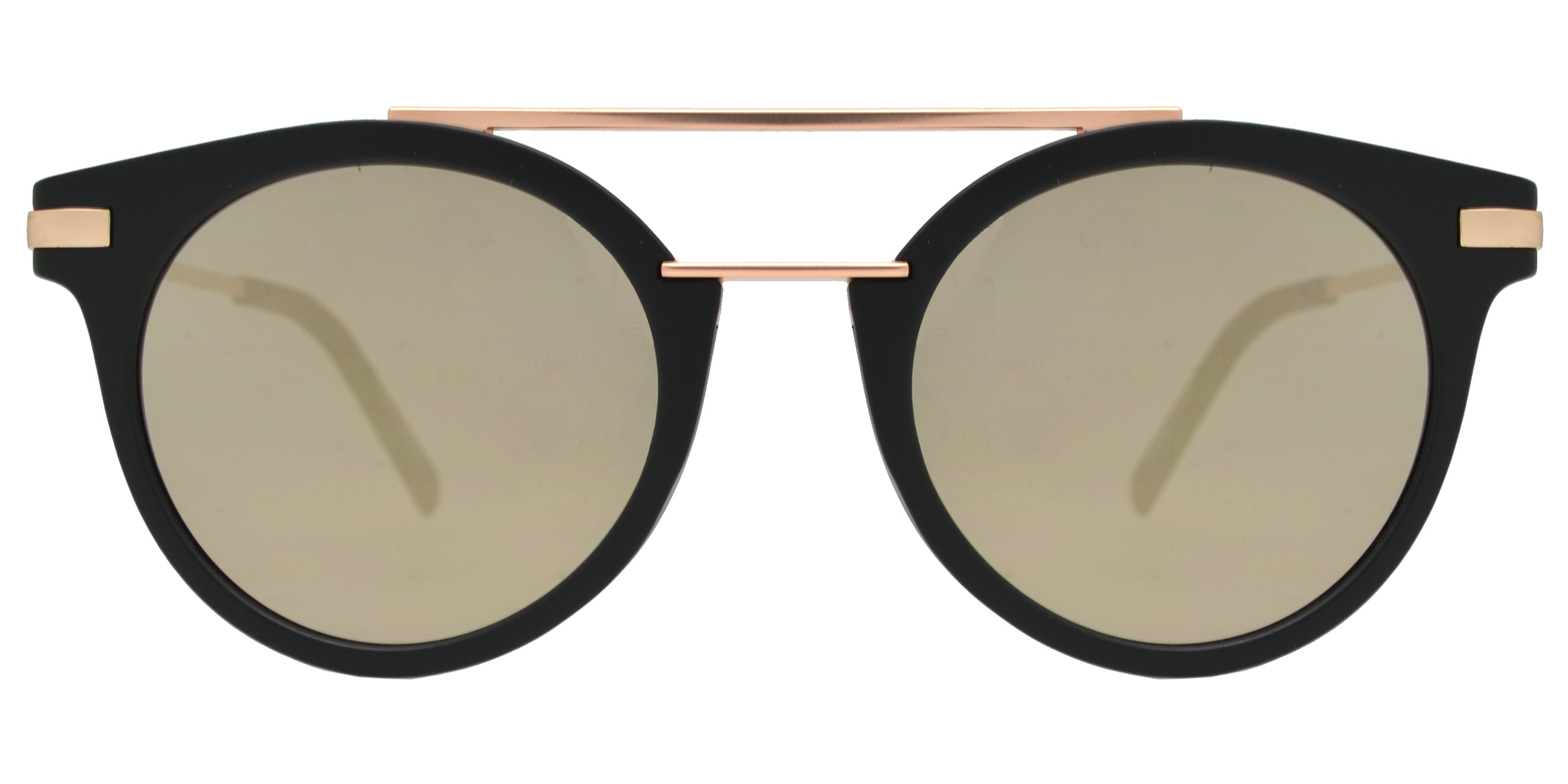 FC 6424 - Round Horn Rimmed Plastic Sunglasses with Flat Lens and Brow Bar