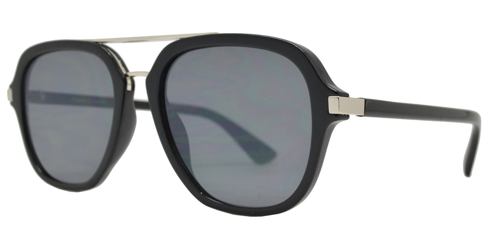 Dynasol Eyewear - Wholesale Sunglasses - FC 6435 - Retro Flat Lens Plastic Aviator Sunglasses with Brow Bar - sunglasses