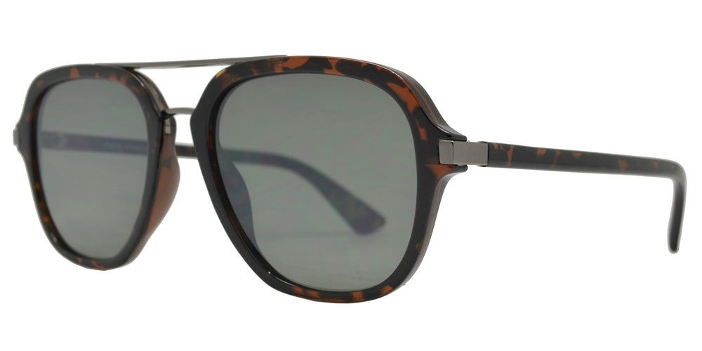 FC 6435 - Retro Flat Lens Plastic Aviator Sunglasses with Brow Bar