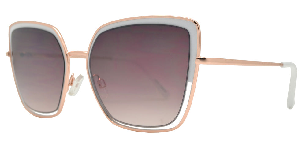 Dynasol Eyewear - Wholesale Sunglasses - FC 6439 - Square Metal Cut Out Cat Eye Women's Sunglasses - sunglasses