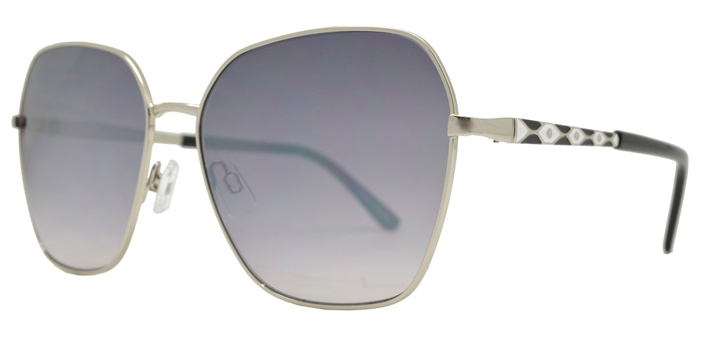 FC 6445 - Geometric Square with Decorative Temple Metal Sunglasses