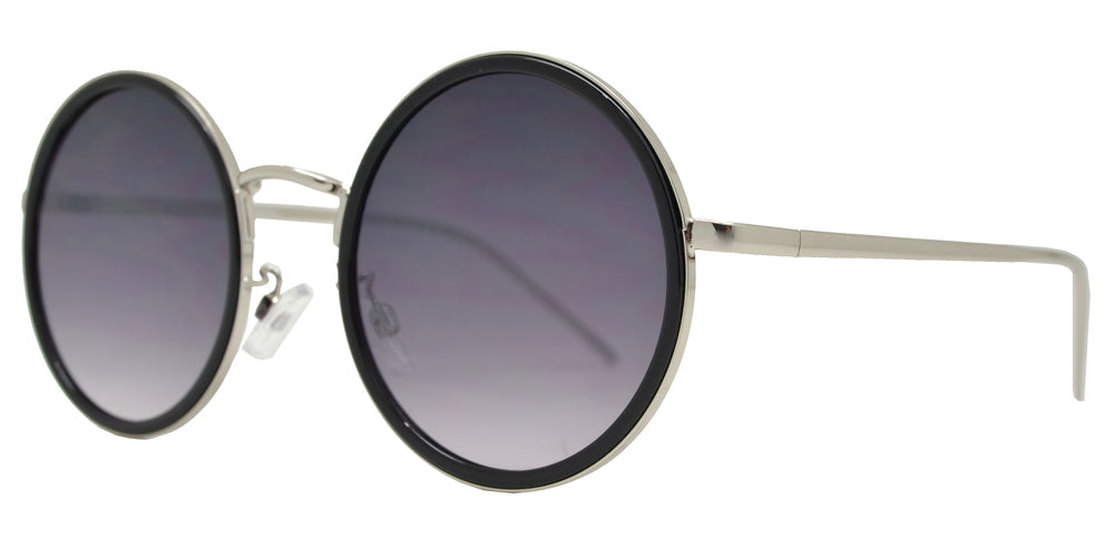 Dynasol Eyewear - Wholesale Sunglasses - FC 6446 - Round Flat Lens Plastic Border Metal Sunglasses - sunglasses