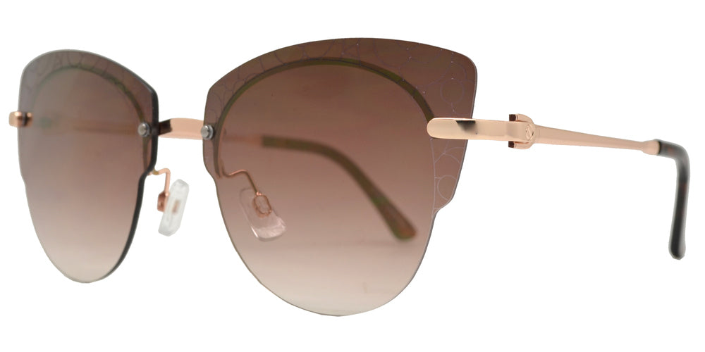 Dynasol Eyewear - Wholesale Sunglasses - FC 6447 - Rimless Flower Detail Cat Eye Metal Sunglasses - sunglasses