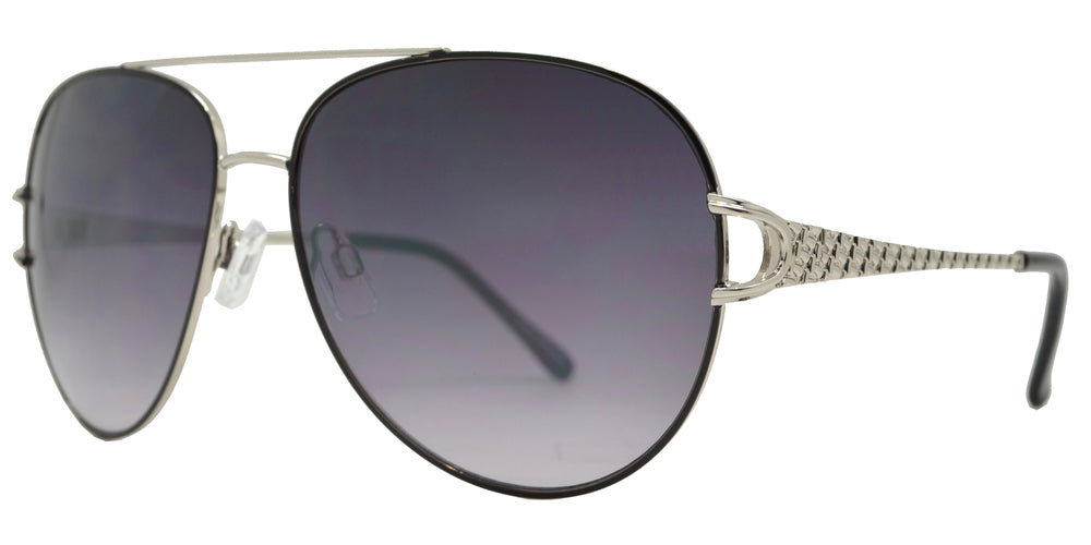 Wholesale - FC 6450 - Classic Metal Aviator Decorative Temple Sunglasses - Dynasol Eyewear