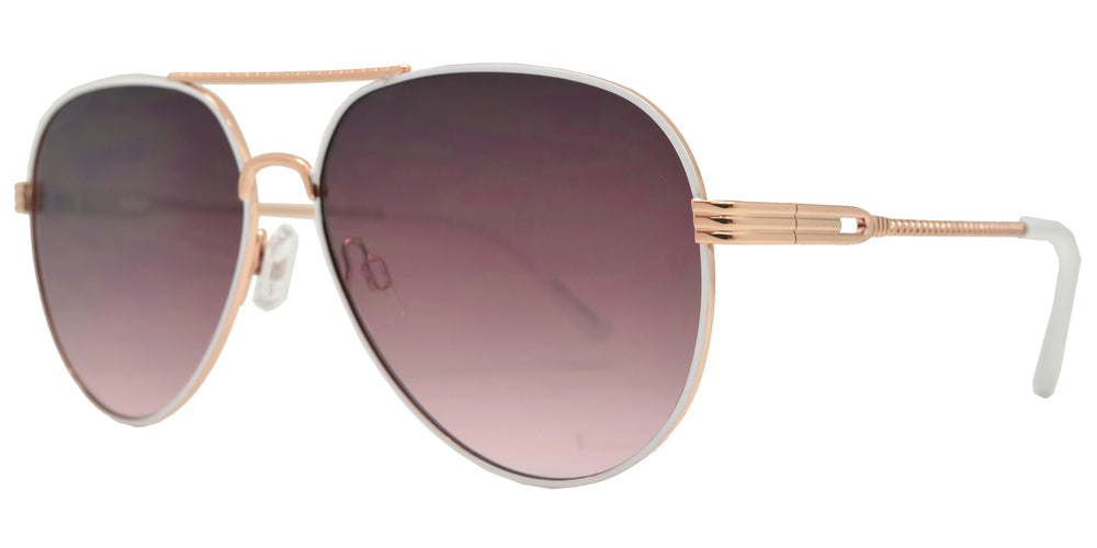 Dynasol Eyewear - Wholesale Sunglasses - FC 6451 - Classic Flat Lens Metal Aviator Women's Sunglasses - sunglasses
