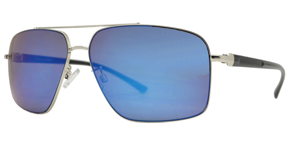 Wholesale - FC 6454 - Mens Metal Rectangle Aviator Sunglasses - Dynasol Eyewear