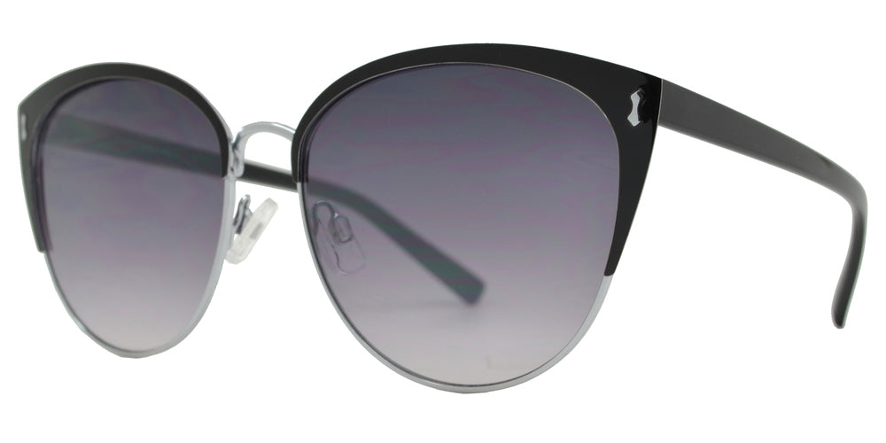 FC 6459 - Women's Round Metal Cat Eye Sunglasses