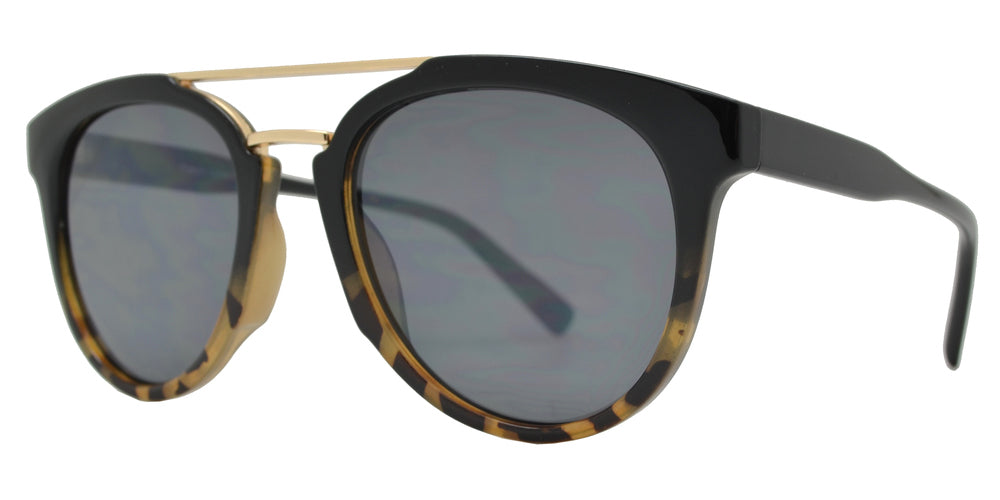FC 6462 - Retro Oval Shaped with Brow Bar Plastic Sunglasses