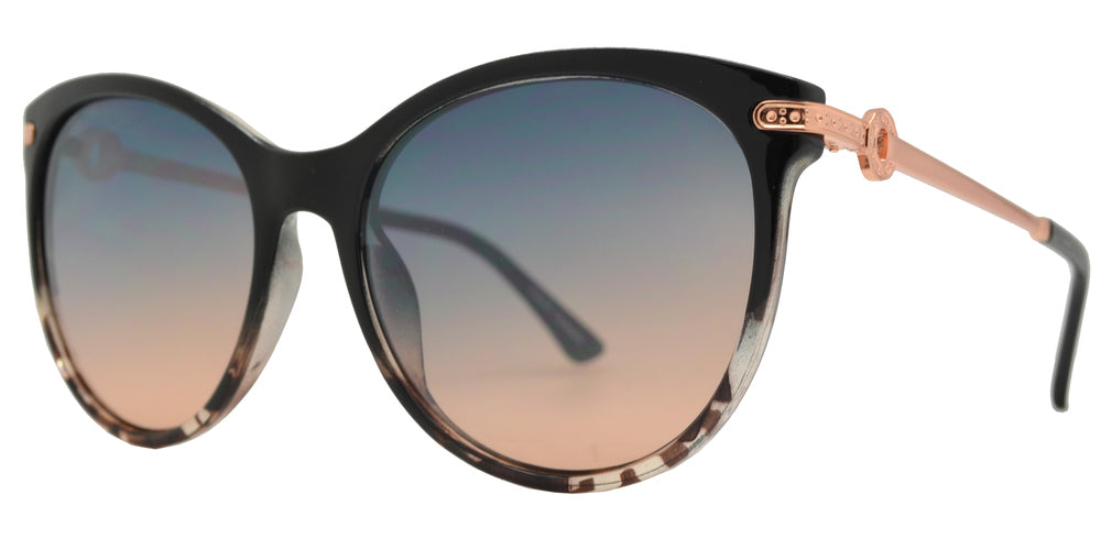 FC 6473 - Round Cat Eye Metal Temple Plastic Sunglasses