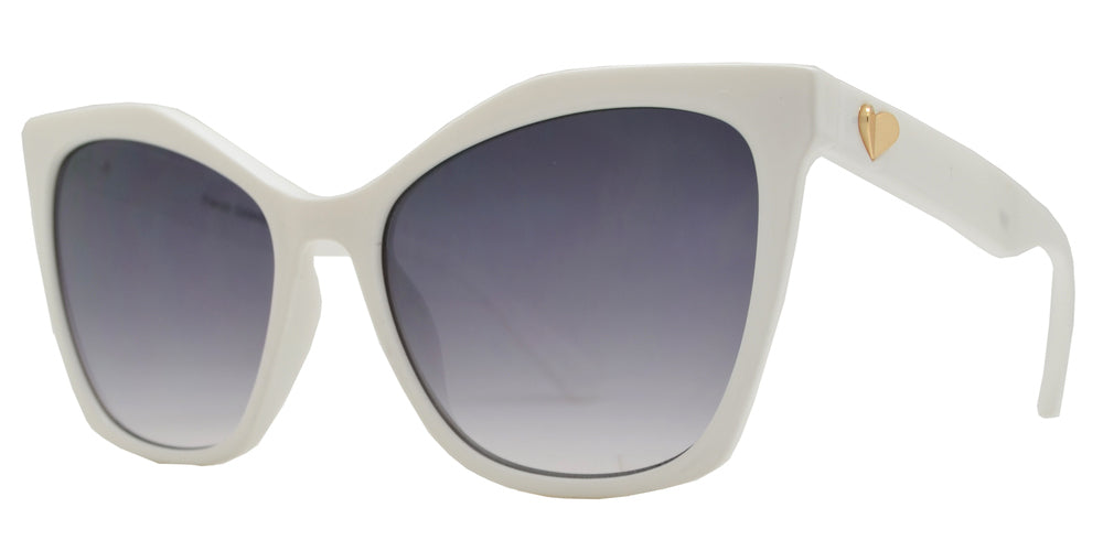 FC 6479 - Plastic Cat Eye Sunglasses with Heart Accent