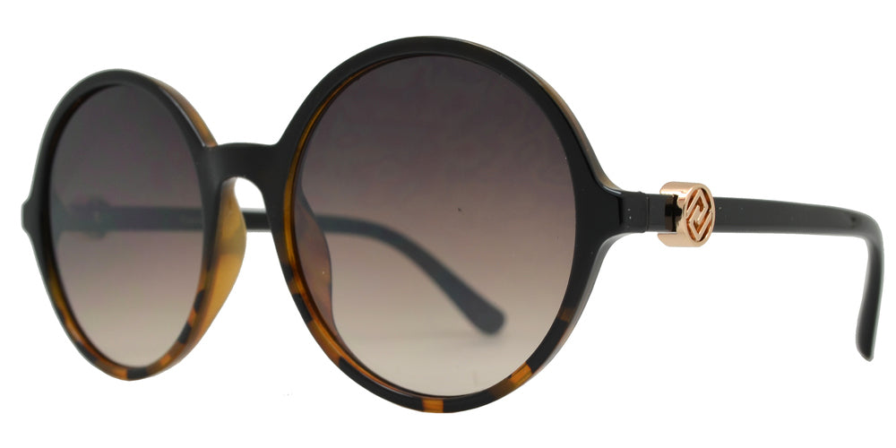 Wholesale - FC 6481 - Round Flat Lens Plastic Sunglasses with Metal Accent - Dynasol Eyewear