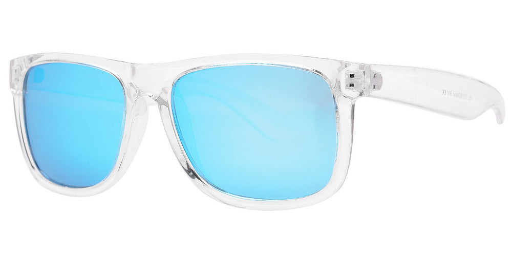 Dynasol Eyewear - Wholesale Sunglasses - PL 7619 Clear - Classic Square Sports Plastic Polarized Sunglasses with Clear Lens - sunglasses