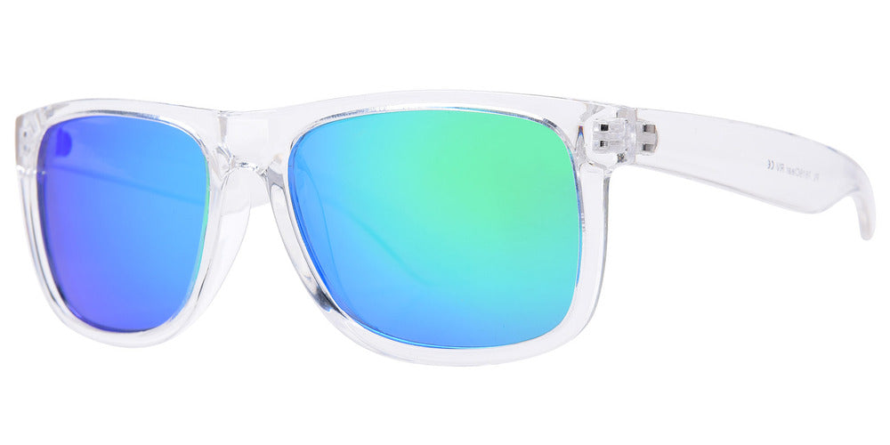 Wholesale - 7619 Clear RVC - Classic Transparent Sports Sunglasses with Color Mirror Lens - Dynasol Eyewear