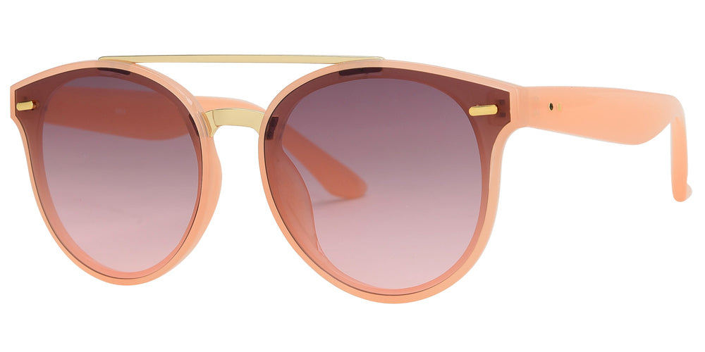 8804 - Round Horn Rimmed Plastic Sunglasses with Brow Bar