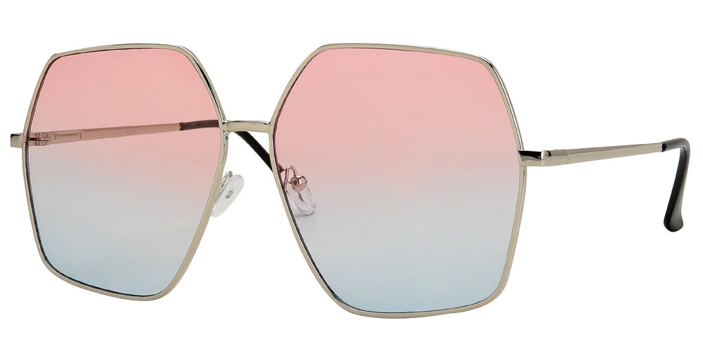 Wholesale - 8815 - Women's Hexagon Metal Sunglasses - Dynasol Eyewear