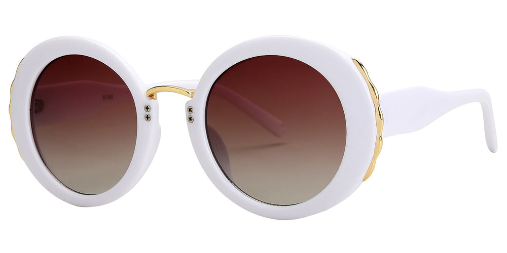8786 - Modern Round Metal Accent Plastic Sunglasses