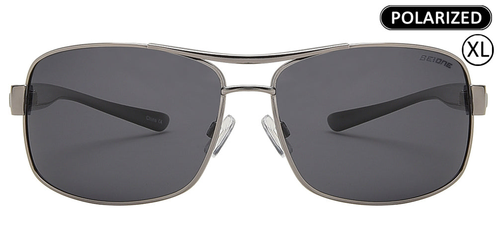 Wholesale - PL 3939 - Men's XL Oversized Rectangular Polarized Metal Sunglasses - Dynasol Eyewear
