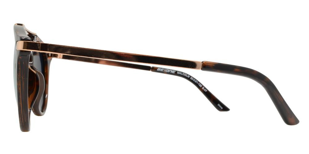 Wholesale - PL Malcolm - Polarized Round Horn Rimmed with Brow Bar Plastic Sunglasses - Dynasol Eyewear
