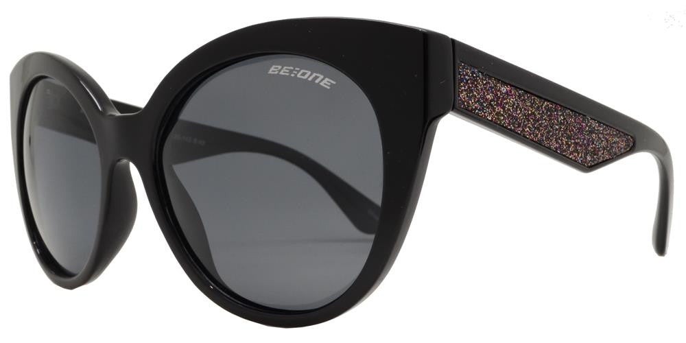 Wholesale - PL Melrose - Polarized Women Horn Rimmed Cat Eye with Glitter Plastic Sunglasses - Dynasol Eyewear