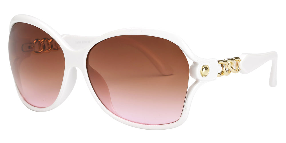 Wholesale - 7876 - Women's Butterfly Sunglasses with Chain Detail Temple - Dynasol Eyewear