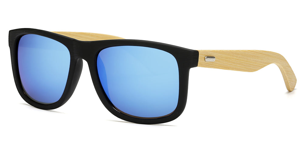 7971 RV - Wholesale Bamboo Sunglasses with Color Mirror Lens