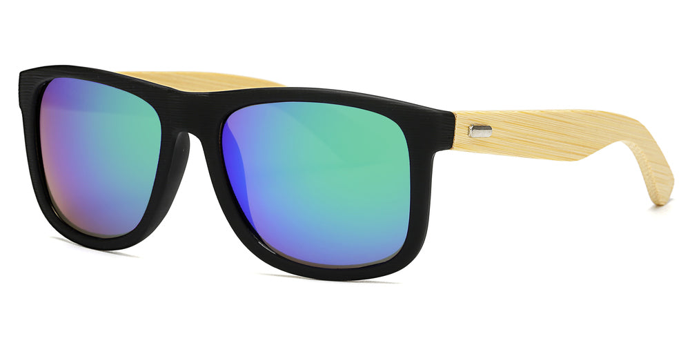 Wholesale - 7971 RVC - Wholesale Bamboo Sunglasses with Color Mirror Lens - Dynasol Eyewear