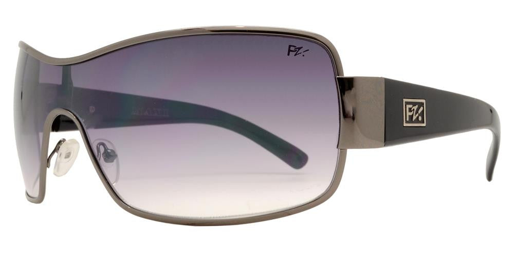 Wholesale - PZM Maxi - Large One Piece Shield Square Metal Sunglasses - Dynasol Eyewear
