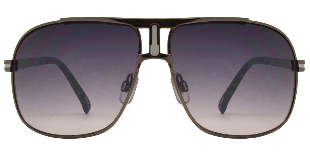 OX 2809 - Retro Metal Square Aviator Sunglasses with Brow Bar