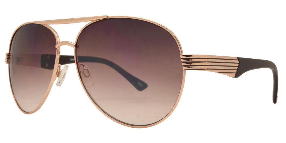 OX 2827 - Classic Metal Aviator with Brow Bar and Detailed Temple Sunglasses