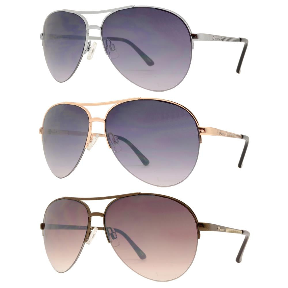 OX 2838 - Classic Aviator Half Rimmed with Brow Bar Metal Sunglasses