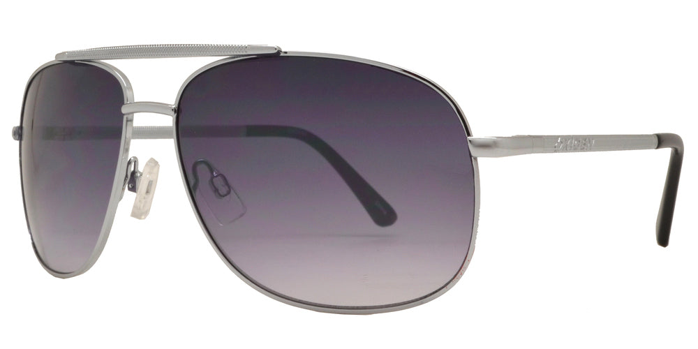 OX 2840 - Square Aviator with Brow Bar Metal Sunglasses