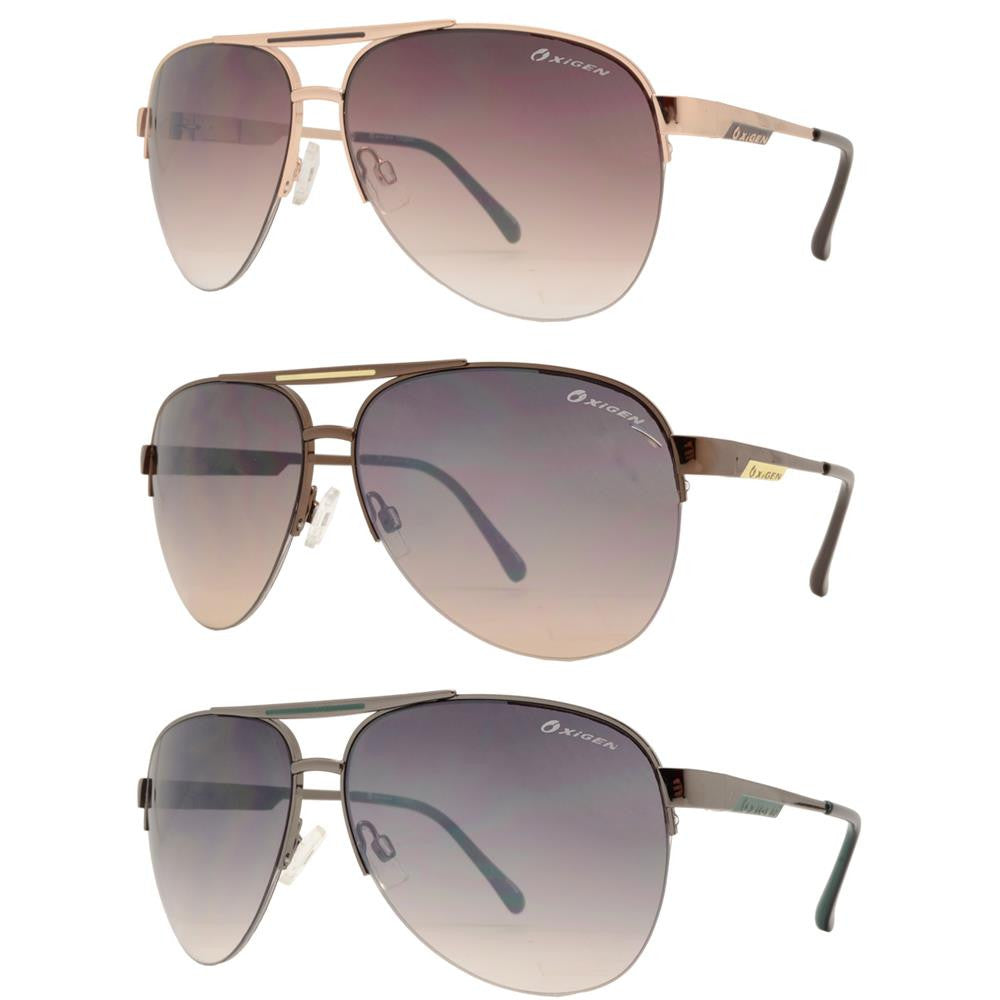 OX 2844 - Classic Aviator Half Rimmed with Brow Bar Metal Sunglasses