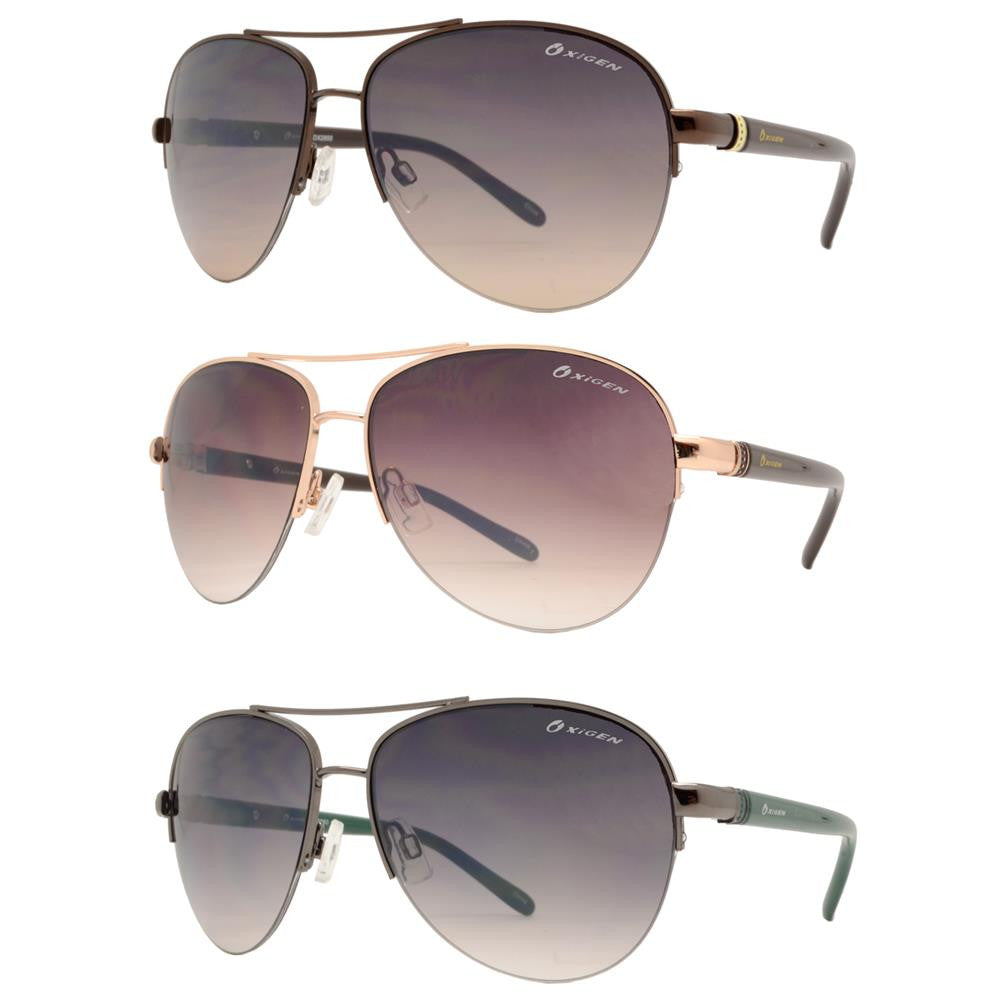 OX 2850 - Classic Aviator Half Rimmed with Brow Bar Metal Sunglasses