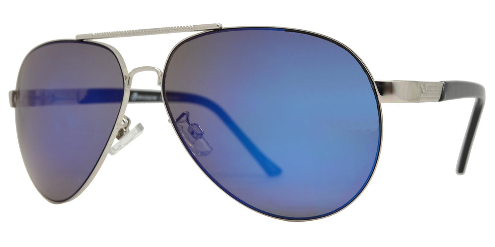 OX 2863 RVC - Classic Oval Shaped Metal Sunglasses with Color Mirror Lens