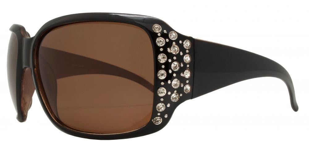 Dynasol Eyewear - Wholesale Sunglasses - PL 7332 BX - Women's Oversize Square Polarized Sunglasses with Rhinestones - sunglasses