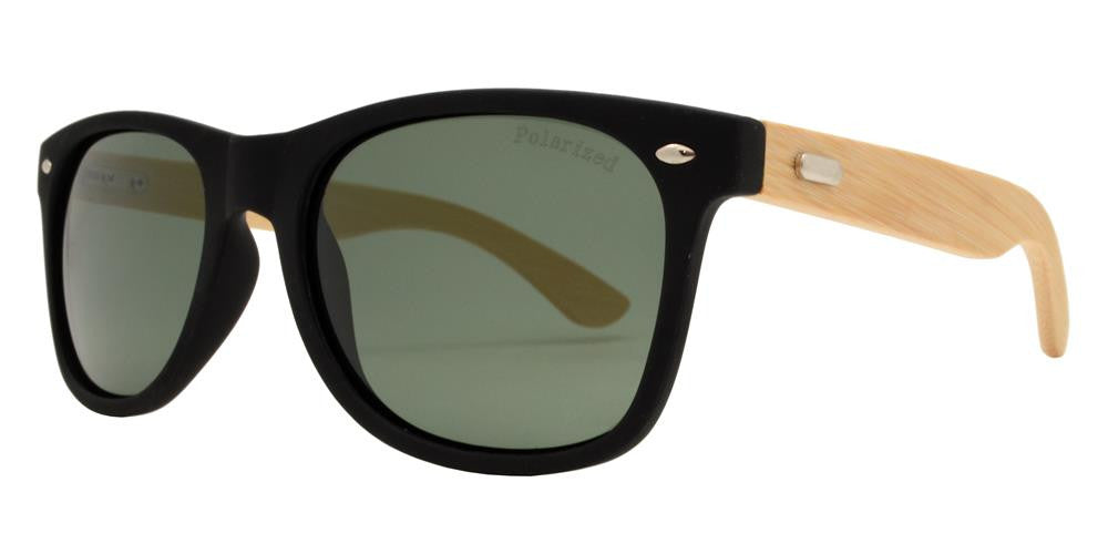 Wholesale - PL 7840 - Classic Horn Rimmed Bamboo Polarized Sunglasses with Metal Studs - Dynasol Eyewear