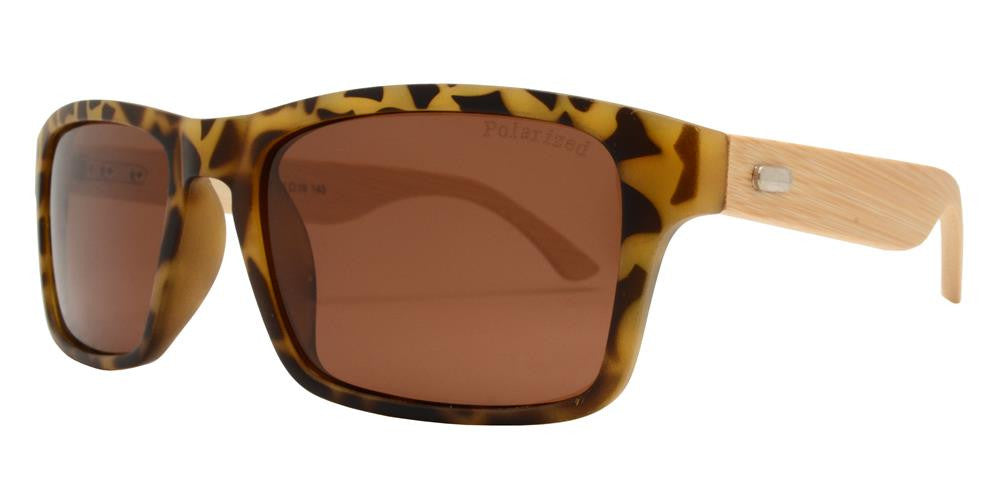 Wholesale - PL 7843 - Rectangular Sports Horn Rimmed Bamboo Polarized Sunglasses - Dynasol Eyewear