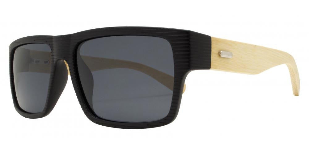 Dynasol Eyewear - Wholesale Sunglasses - PL 7875 - Rectangular Rigid Frame Flat Top Bamboo Polarized Sunglasses - sunglasses