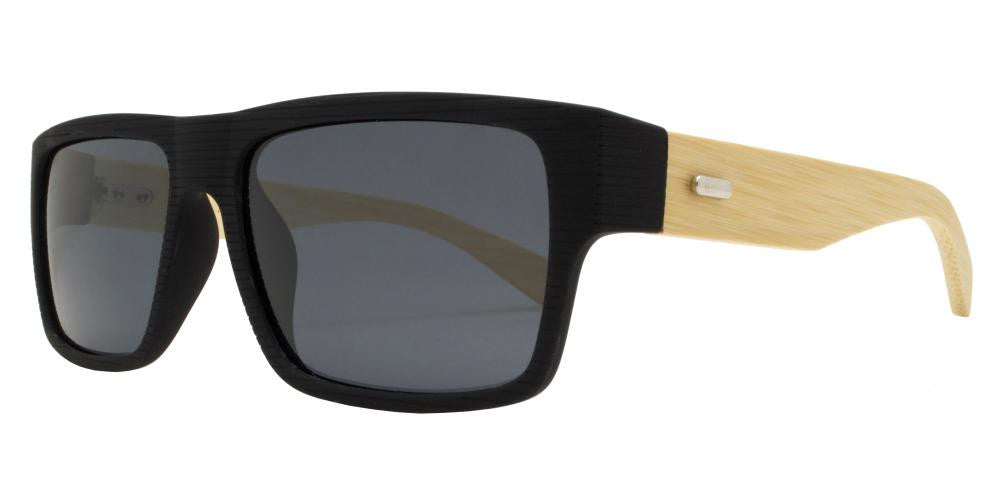 Wholesale - PL 7875 - Rectangular Rigid Frame Flat Top Bamboo Polarized Sunglasses - Dynasol Eyewear