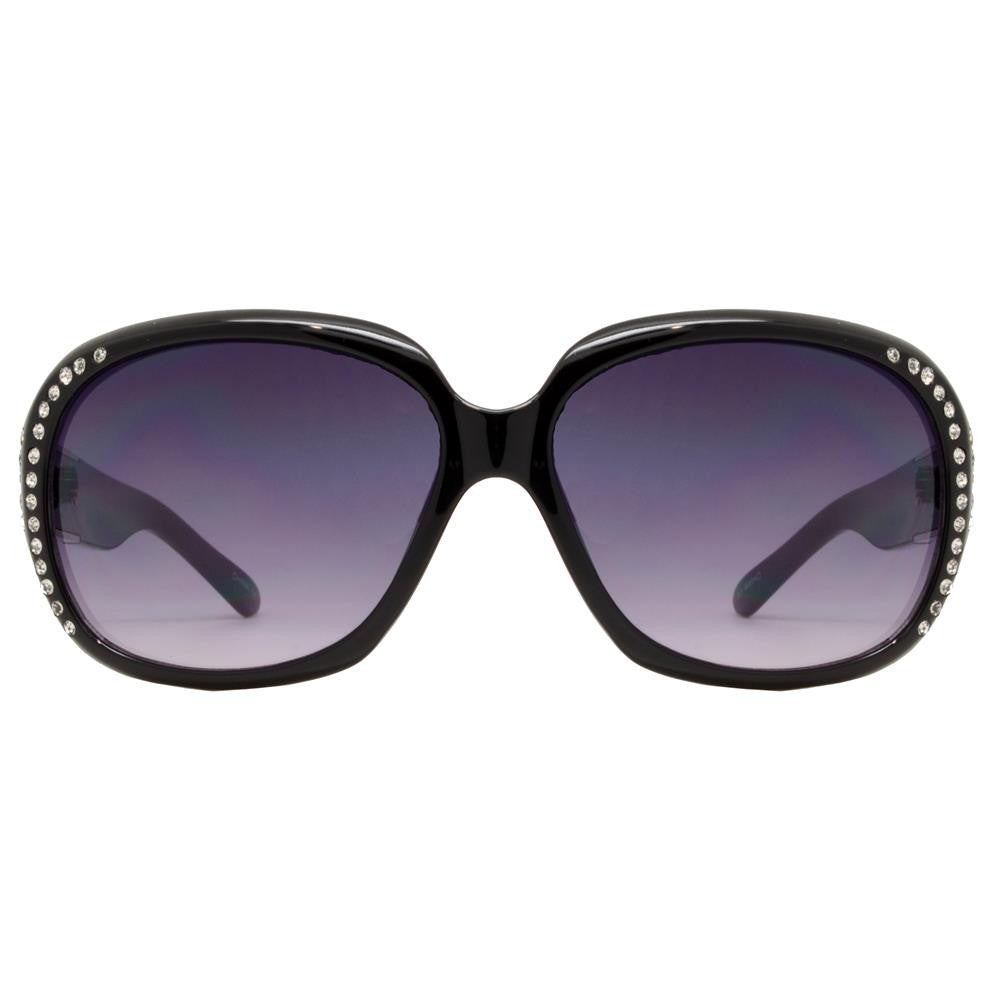Wholesale - PLD-11 - Square Frame with Rhinestones Metal Detail Temple Plastic Sunglasses - Dynasol Eyewear