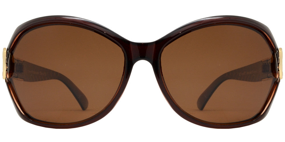 Dynasol Eyewear - Wholesale Sunglasses - PL 1880 - Polarized Women Butterfly with Metal Accent Plastic Sunglasses - sunglasses