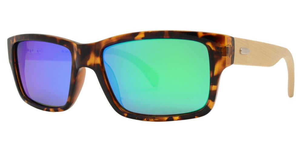Wholesale - PL 2013 RVC - Polarized Bamboo Sport Rectangular with Color Mirror Lens Sunglasses - Dynasol Eyewear